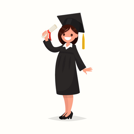 Happy girl graduate of the University in black gown on a white background. Vector illustration of a flat design