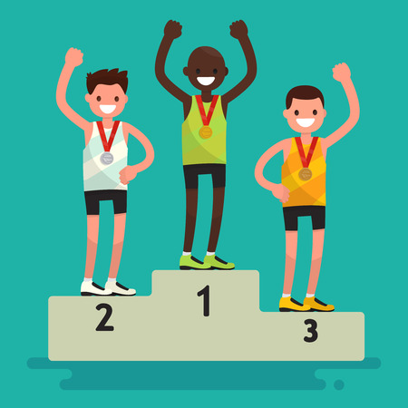 Awards ceremony. Three athletes with medals on a pedestal. Vector illustration of a flat design Illustration