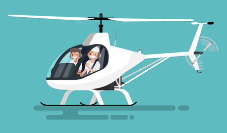 Pilots in the helicopter. Vector illustration Illusztráció