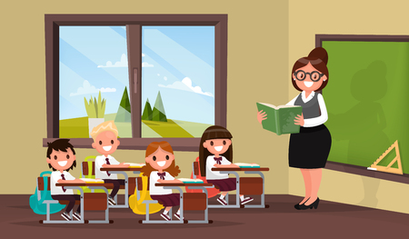Lesson. A teacher with pupils in primary school classroom. Vector illustration of a flat design