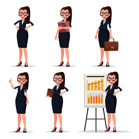 Set character businesswoman, secretary or teacher. Smiling business woman in various poses on a white background. Vector illustration Çizim