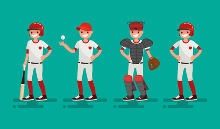outfield: Basketball team. Batter, Pitcher, Catcher, Runner . Vector illustration of a flat design Illustration