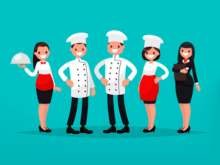 Restaurant team. Chef, cook, manager, waiter. Vector illustration of a flat design Illusztráció