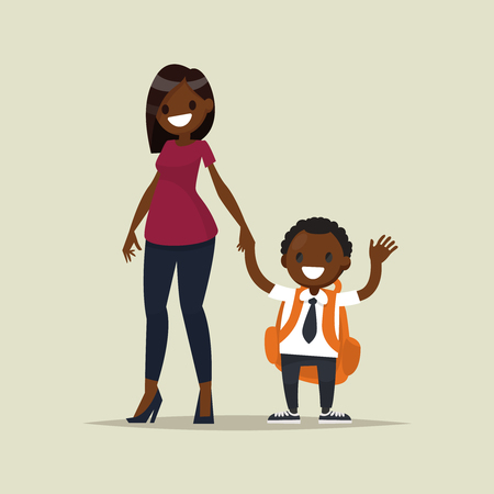 first grader: African-American mother with her child schoolboy. Vector illustration of a flat design Illustration