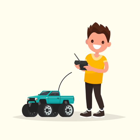baby playing toy: Boy with a radio-controlled car. Vector illustration of a flat design