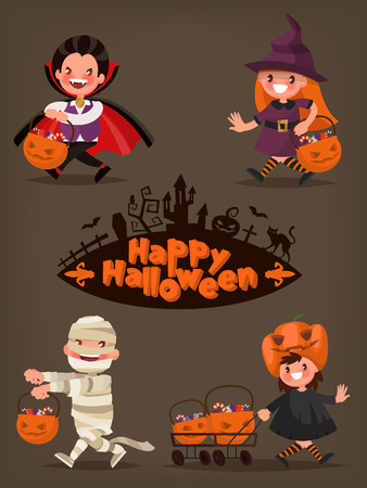 Happy Halloween. Baby characters with baskets of candy. Vector illustration of a flat design