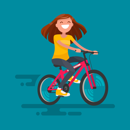 Happy girl riding a bicycle. Vector illustration in a flat style