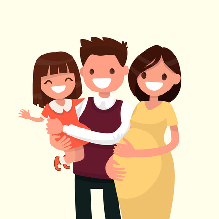 Portrait of a happy young family. Dad, daughter and pregnant mother. Vector illustration of a flat design