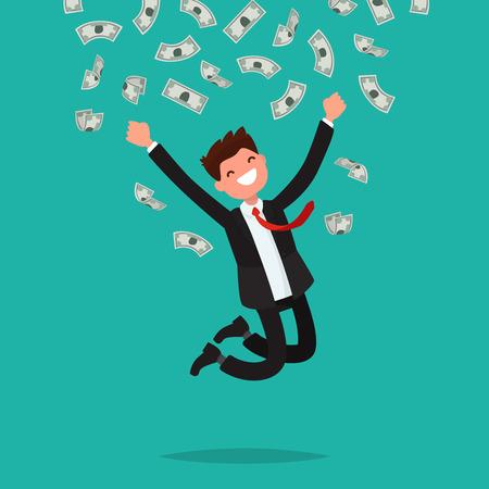 falling man: On a man are falling money bills. Joyful businesswoman jumping from happiness. Vector illustration of a flat design