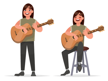 chanson: Music performance. Guitarist man is playing on an acoustic guitar and singing a song Stock illustration in cartoon style