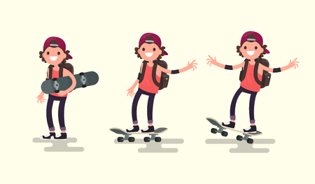 Set guy riding on a skateboard. Vector illustration of a flat design Vettoriali
