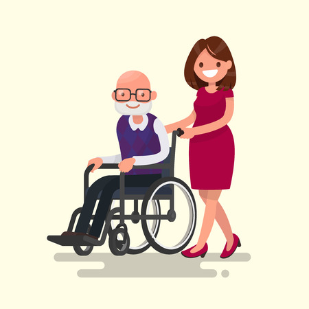 Social worker on a walk with disabled grandfather in a wheelchair. Vector illustration of a flat design