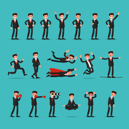 Big set of businessman character with different poses and actions. Employee indicates running, balancing, meditate, falls and much more. Vector illustration of a flat design Illustration