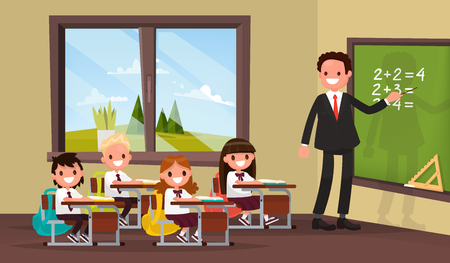 school: Math lesson. A teacher with pupils in primary school classroom. Vector illustration of a flat design Illustration