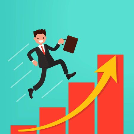 Concept of career growth or path to success. Businessman runs up the schedule. Vector illustration of a flat design