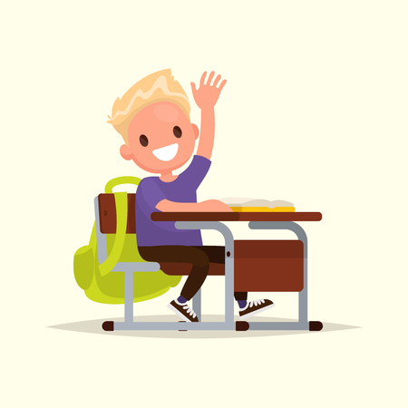 raises: Elementary school student. A schoolboy raises his hand to answer. Vector illustration of a flat design