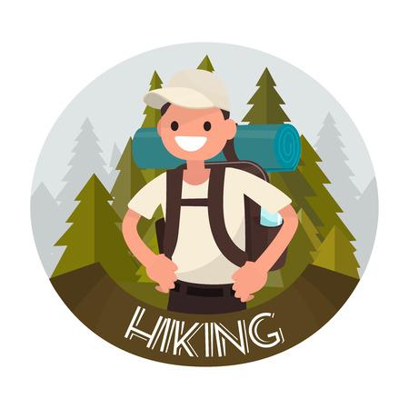 Logo hiking. Vector illustration of a flat design Illustration