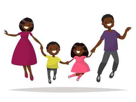 幸せな家庭をアフリカ系アメリカ人が飛び降りています。お父さんお母さん娘と息子が手を繋いでジャンプ。フラット デザインのベクトル イラスト  イラスト・ベクター素材