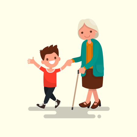 Grandson walking with his grandmother. Vector illustration of a flat design