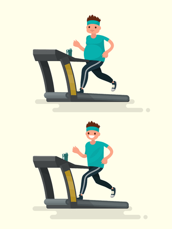 before: Before and after. Obese man running on a treadmill and he  after slimming. Vector illustration of a flat design