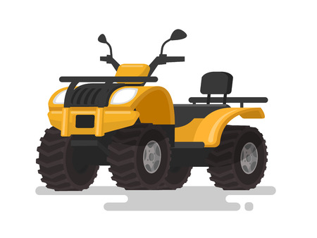 Yellow ATV. Four-wheel all-terrain vehicle. Quad bike on the isolated background. Vector illustration