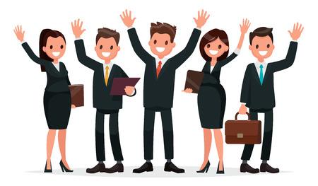 Personnes habillées dans un costume d'affaires avec la main levée. Équipe commerciale sur fond blanc. Illustration vectorielle dans un style plat Vecteurs