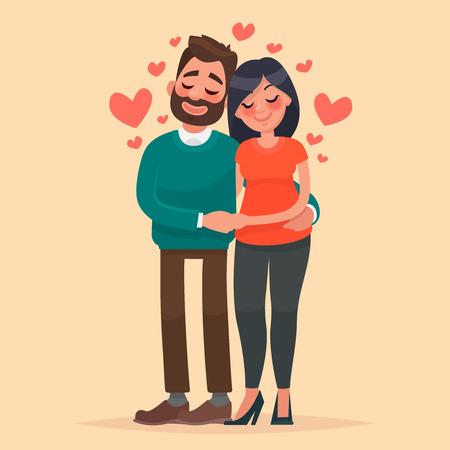 Pareja enamorada. El hombre y la mujer que se abrazan cariñosamente. Caracteres para el día de San Valentín. Ilustración del vector en estilo de dibujos animados