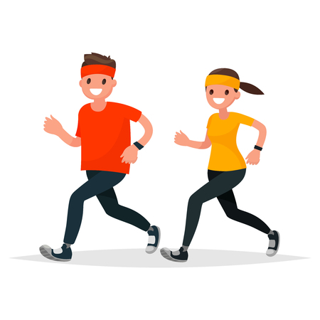 Man and woman in sportswear running on a white background. Vector illustration in a flat style 矢量图像