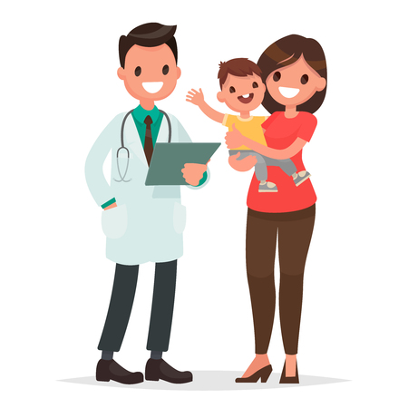 Caring for the health of the child. The pediatrician and the mother with a baby on a white background. Vector illustration in a flat style Illusztráció