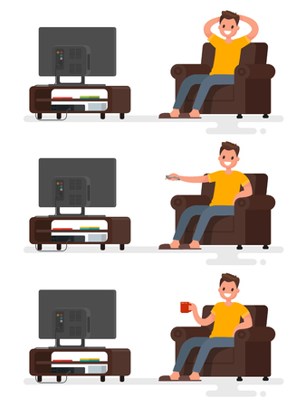 watching television: Set character man sitting in a chair and watching television on an isolated background. Vector illustration in a flat style