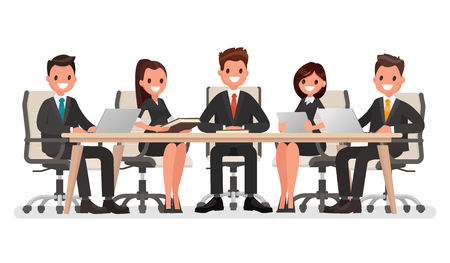 led: Business meeting at the big table, led by the head of the company. Vector illustration in a flat style
