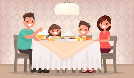 Family meal. Father mother, son and daughter together sit at the table and have lunch. Vector illustration in a flat style Vettoriali