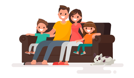 Happy family sitting on the sofa. Father, mother, son and daughter together on an isolated background. Vector illustration in a flat style Stock Illustratie