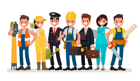 Labor Day. A group of people of different professions on a white background. Vector illustration in a flat style