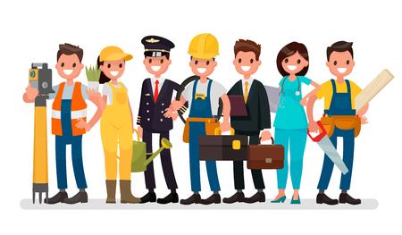 Día laboral. Un grupo de personas de diferentes profesiones en un fondo blanco. Ilustración del vector en un estilo plano