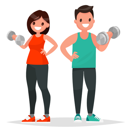 Fitness couple. Man and woman dressed in sportswear are doing exercises with dumbbells. Vector illustration in a flat style Illustration