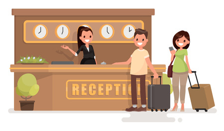 Check into a hotel. Young couple with suitcases is standing at the reception desk. Vector illustration in a flat style