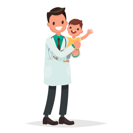 Pediatrician man holds  a healthy cheerful baby. Vector illustration in a flat style Illustration