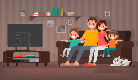 Happy family watching television sitting on the couch at home. Vector illustration in a flat style Stock Illustratie
