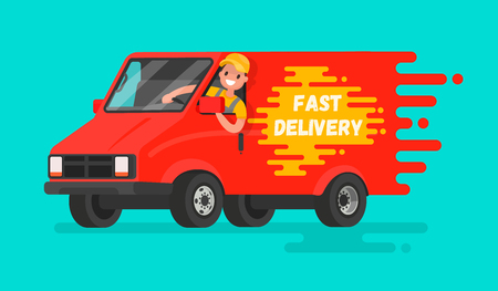 Concept of  fast delivery of goods. The driver of the truck in a hurry to deliver the order. Vector illustration in a flat style