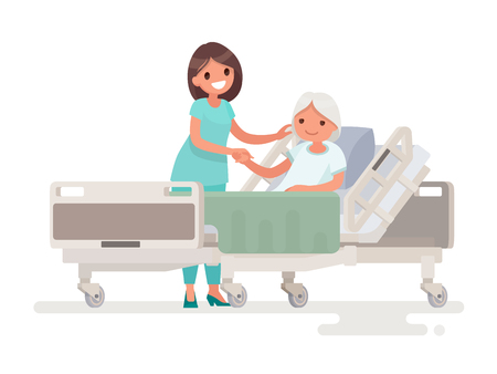Hospitalisation du patient. Une infirmière s'occupe d'une femme âgée malade allongée dans un lit médical. Illustration vectorielle dans un style plat