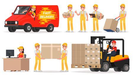 Ensemble de prestation de services. Personnel: opérateur, chauffeur, coursier, chargeur. Illustration vectorielle dans un style plat