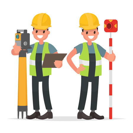 Surveyor and his assistant to work with the equipment. Vector illustration in a flat style