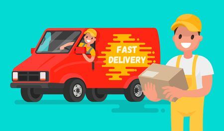 Service fast delivery. Illustration in a flat style for mobile apps and websites