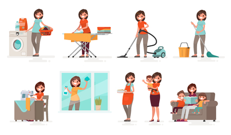Set of affairs woman housewife. Mother washes, irons, vacuums, cleans, sews, cooks, brings up children. Vector illustration in a flat style