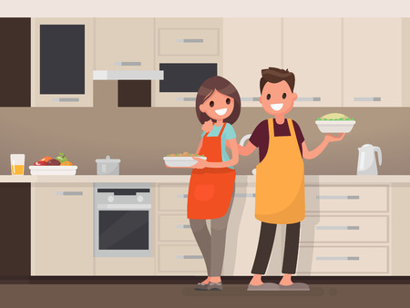 Husband and wife are preparing together. Man and woman in the kitchen. Vector illustration in a flat style Stock Illustratie