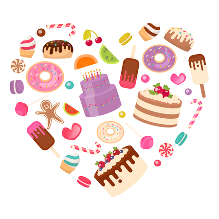 Sweets: candy cakes, ice cream, Cake laid out in the shape of a heart. Vector illustration in a flat style Illustration