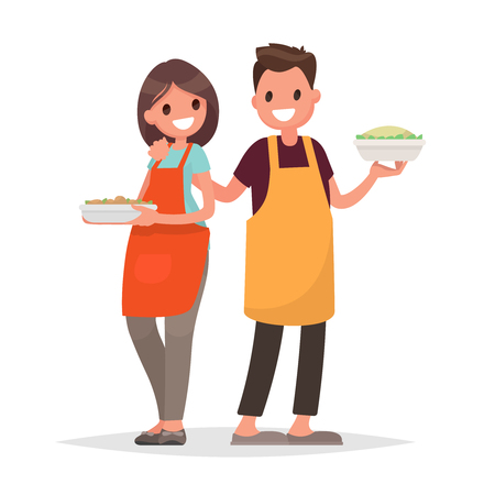 pareja comiendo: Husband and wife are preparing together on an isolated background. Vector illustration in a flat style