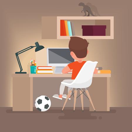 Colegial aprende lecciones en casa. Niño leyendo mientras está sentado en su escritorio. Ilustración del vector en un estilo plano