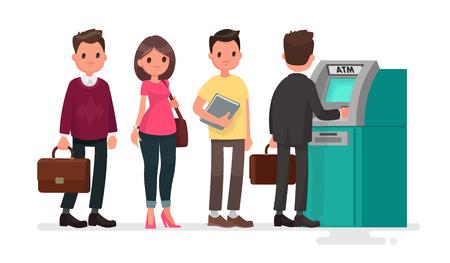 Cola en el cajero automático. la gente descontentos están de pie en la línea para un fondo aislado. Ilustración del vector en un estilo plano